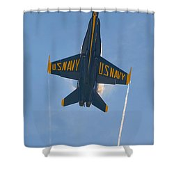 Shower Curtain featuring the photograph Blue Angels Ghost Appears Over Pensacola Beach by Jeff at JSJ Photography