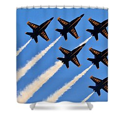 Blue Angels Overhead Shower Curtain by Benjamin Yeager