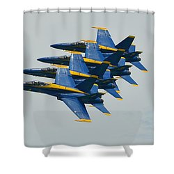 Shower Curtain featuring the photograph Blue Angels Practice Echelon Formation by Jeff at JSJ Photography