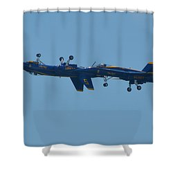 Shower Curtain featuring the photograph Blue Angels Practice Up And Down With Low And Slow by Jeff at JSJ Photography