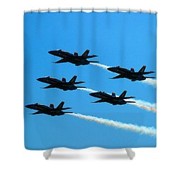Blue Angels The Need For Speed Shower Curtain by James Kirkikis