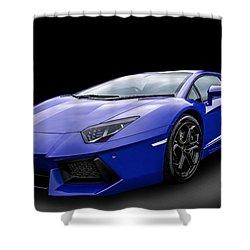 Blue Aventador Shower Curtain by Matt Malloy