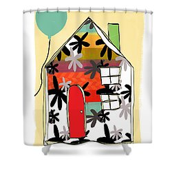Blue Balloon Shower Curtain by Linda Woods