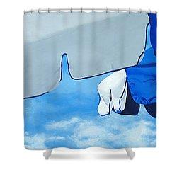 Blue Beach Umbrellas 2 Shower Curtain