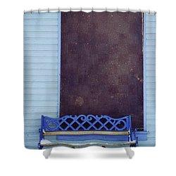 Blue Bench Shower Curtain by Priska Wettstein