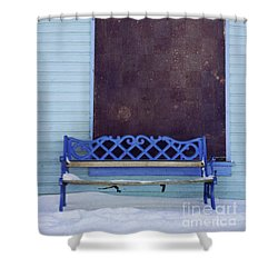 Blue Bench Shower Curtain by Priska Wettstein