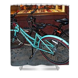 Shower Curtain featuring the photograph Blue Bianchi Bike by Joan Reese