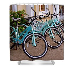 Blue Bikes Shower Curtain by Rodney Lee Williams