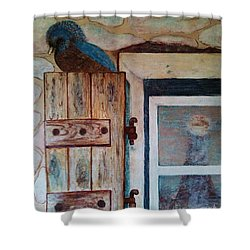 Shower Curtain featuring the painting Blue Bird by Jasna Gopic