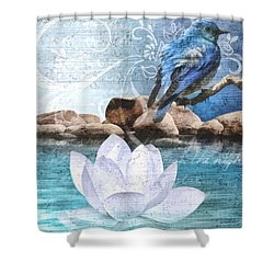 Blue Bird Shower Curtain by Mo T