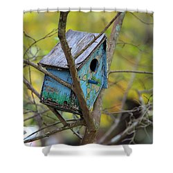Shower Curtain featuring the photograph Blue Birdhouse by Gordon Elwell