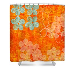 Blue Blossom On Orange Shower Curtain by Linda Woods