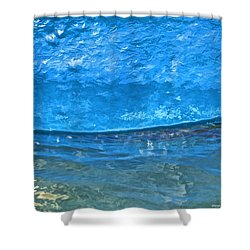 Blue Boat Abstract Shower Curtain