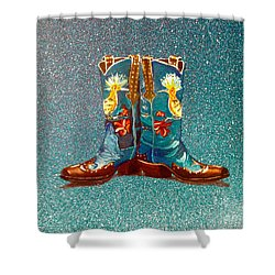 Blue Boots Shower Curtain