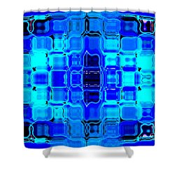 Shower Curtain featuring the digital art Blue Bubble Glass by Anita Lewis