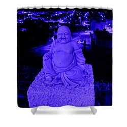 Blue Buddha And The Blue City Shower Curtain