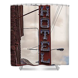 Blue Bulbs Hotel Sign Shower Curtain by Janice Rae Pariza
