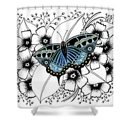 Blue Butterfly Shower Curtain by Billinda Brandli DeVillez