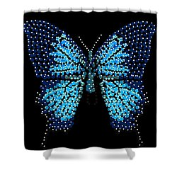 Blue Butterfly Black Background Shower Curtain