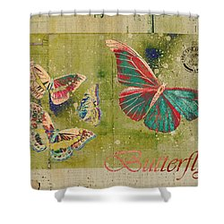 Blue Butterfly Etc - S55ct01 Shower Curtain by Variance Collections