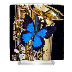 Blue Butterfly On Sax Shower Curtain by Garry Gay