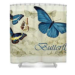 Blue Butterfly - S01a Shower Curtain by Variance Collections