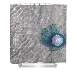 Blue Button Jellyfish Shower Curtain