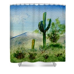 Shower Curtain featuring the painting Blue Cactus by Jamie Frier