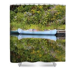 Blue Canoe Shower Curtain by Deborah Benoit