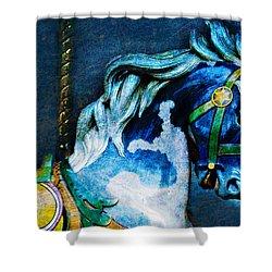 Blue Carousel Horse Shower Curtain