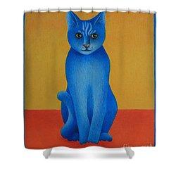 Blue Cat Shower Curtain by Pamela Clements