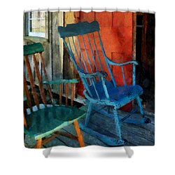 Blue Chair Against Red Door Shower Curtain by Susan Savad