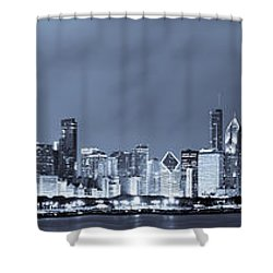 Blue Chicago Skyline Shower Curtain by Sebastian Musial
