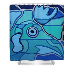Blue Chicken Abstract Shower Curtain