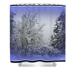 Blue Christmas Shower Curtain