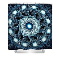 Blue Circle Shower Curtain by Anastasiya Malakhova