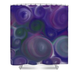 Blue Circles Abstract Shower Curtain by Karen Buford