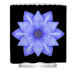 Blue Clematis Flower Mandala Shower Curtain