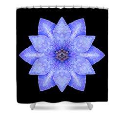 Blue Clematis Flower Mandala Shower Curtain by David J Bookbinder