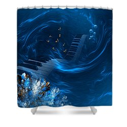 Blue Coral Melody - Fantasy Art By Giada Rossi Shower Curtain by Giada Rossi