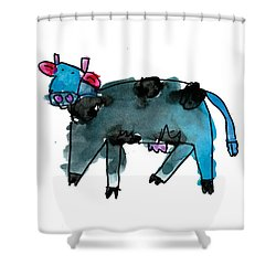 Blue Cow Shower Curtain