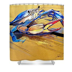 Blue Crabbie  Shower Curtain