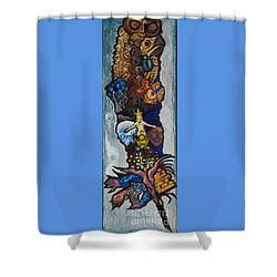 Blue Crow Feather- Crow Series Shower Curtain