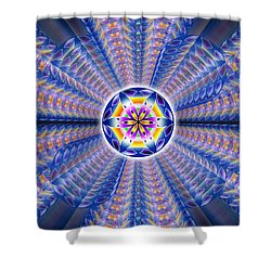 Shower Curtain featuring the drawing Blue Crystal Consciousness by Derek Gedney