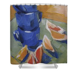 Blue Cups And Citrus Shower Curtain by Mary Hubley