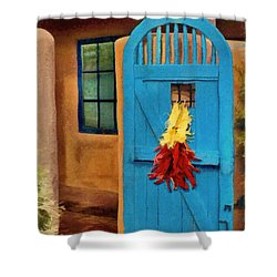 Blue Door And Peppers Shower Curtain by Jeffrey Kolker
