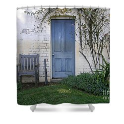 Shower Curtain featuring the photograph Blue Door by Bev Conover