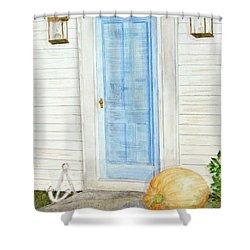 Blue Door With Pumpkin Shower Curtain
