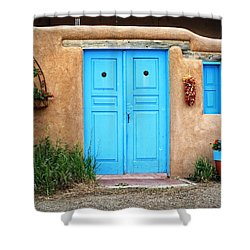 Blue Doors Of Taos Shower Curtain by Lucinda Walter