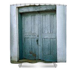 Blue Doors On Brewer Street Shower Curtain